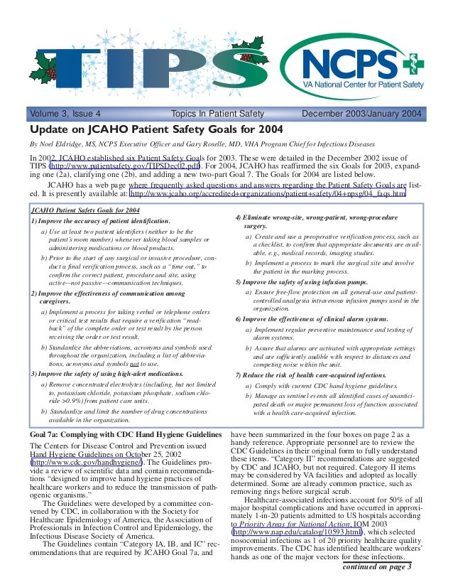 Hand Hygiene Requirements and JCAHO National Patient Safety Goals in VHA 2003
