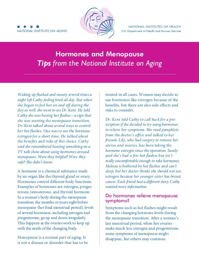 National Institutes of health  National Institute on Aging  U.S. Department of Health and Human Services  Hormones and Men...
