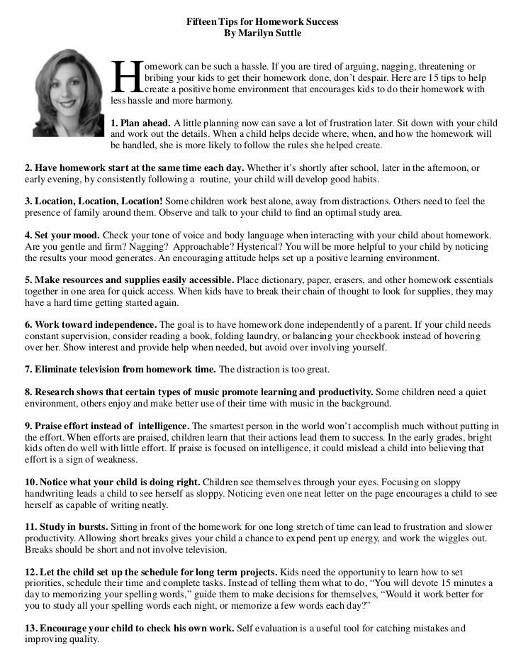 Fifteen Tips for Homework Success                                                  By Marilyn Suttle                     H...