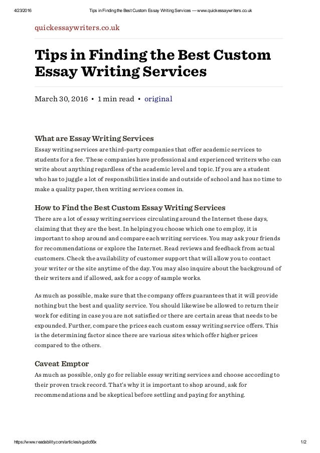 Customized essay writing