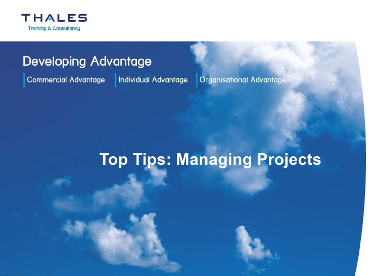 Top Tips: Managing Projects