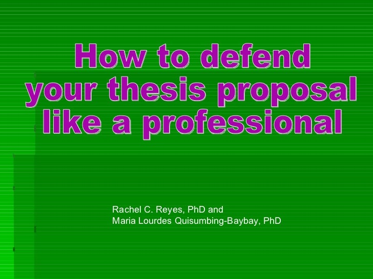 Dissertation proposal presentations