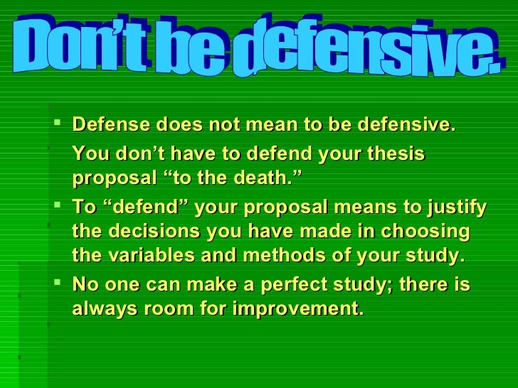 thesis defence vs. defense Master's thesis proposal defence guidelines typically, students defend/present their master's thesis proposals after completion of management 5300 - major seminar iii, but relatively early in the master's thesis module (management 6100 - master's thesis.