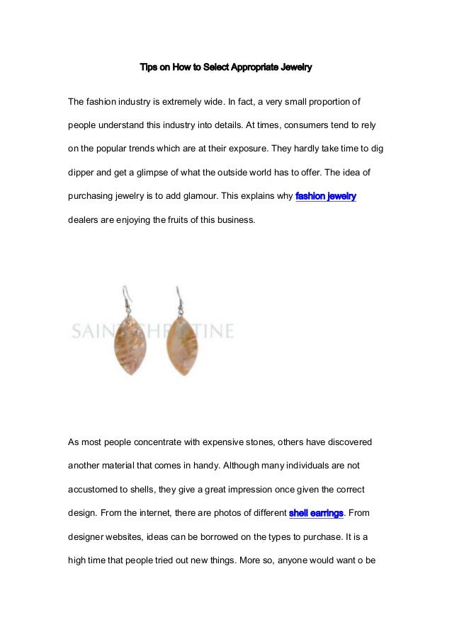 Tips on how to select appropriate jewelry