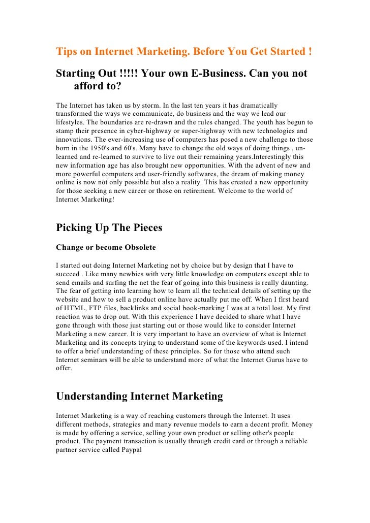 Tips On Internet Marketing.Before You Get Started!