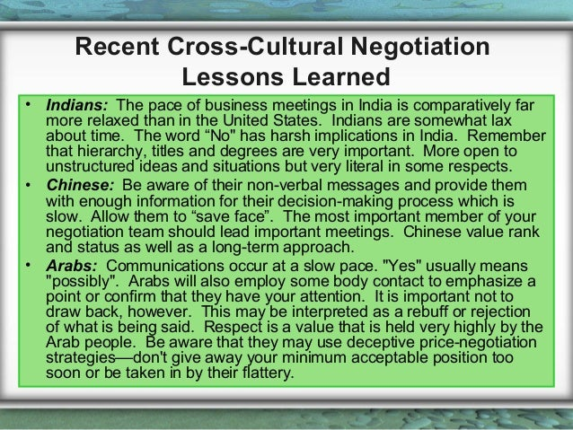 negotiation in cross cultures