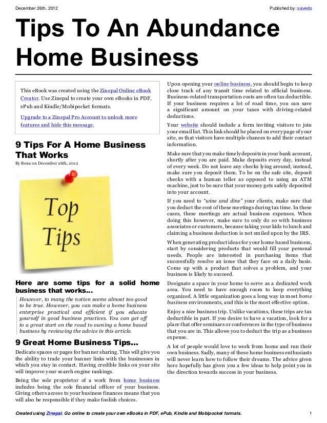 Tips to an abundance home business