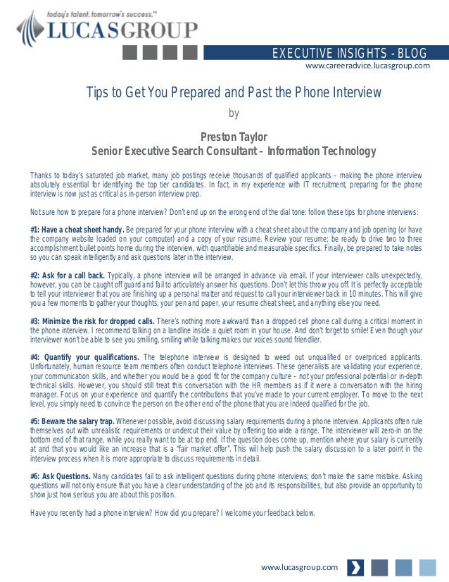 Tips to Get You Prepared and Past the Phone Interview