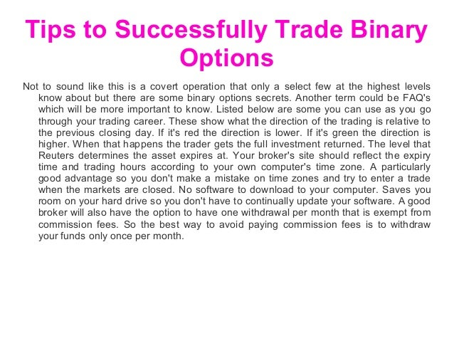 Trade options successfully