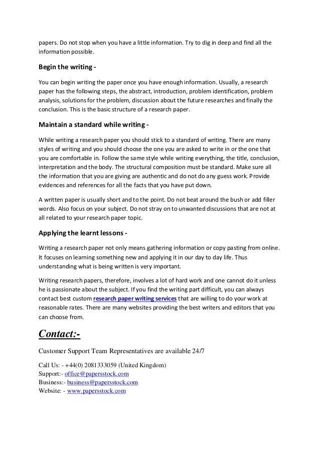 Custom research paper writing