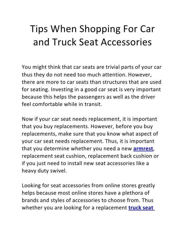 Tips when shopping for car and truck seat accessories