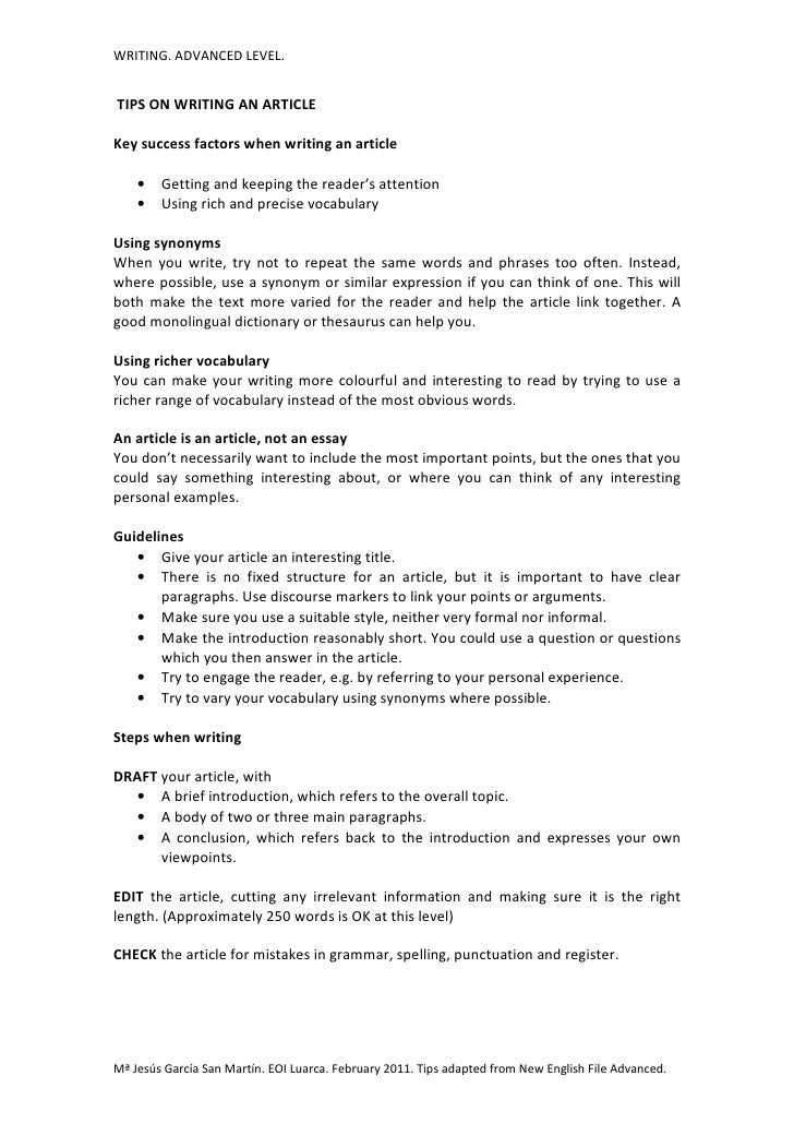tips for writing articles How do you come up with and write newsletter articles that are they begin writing about what i use this same tips as well, when i write my own articles and.