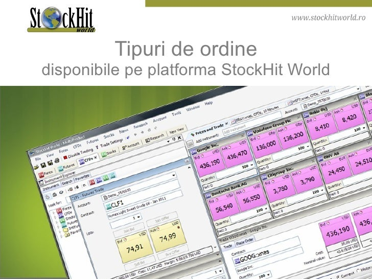 Tipuri de ordine disponibile pe platforma StockHit World