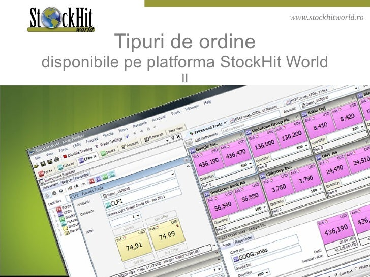 Tipuri de ordine disponibile pe platforma StockHit World II