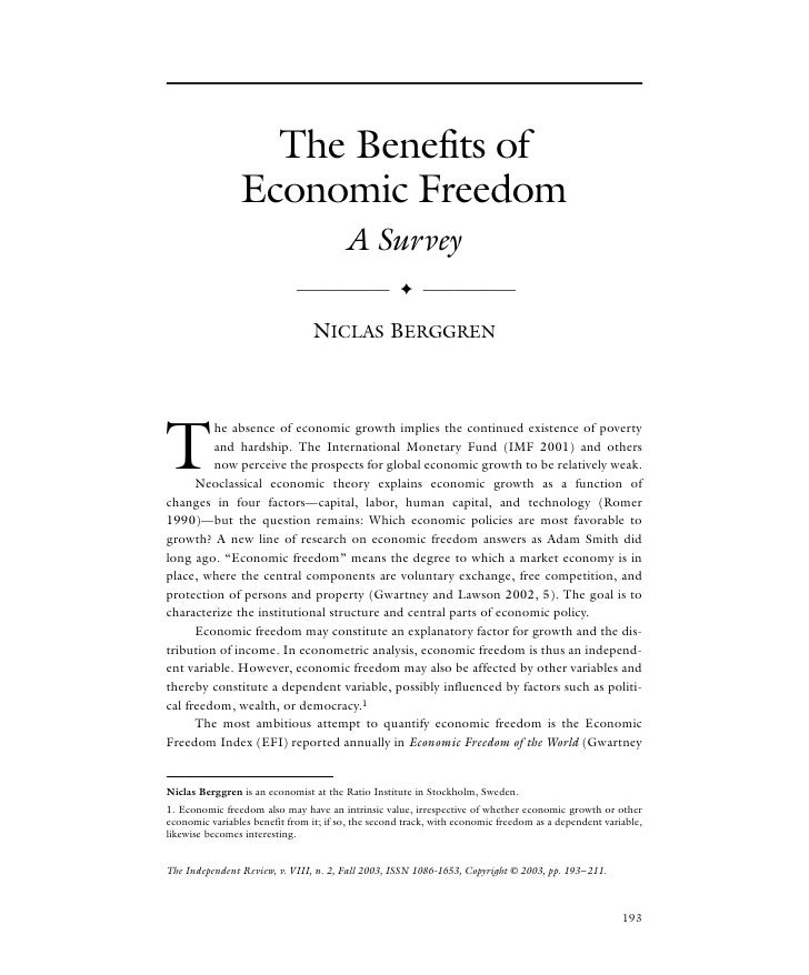 The Benefits of                 Economic Freedom                                         A Survey                         ...