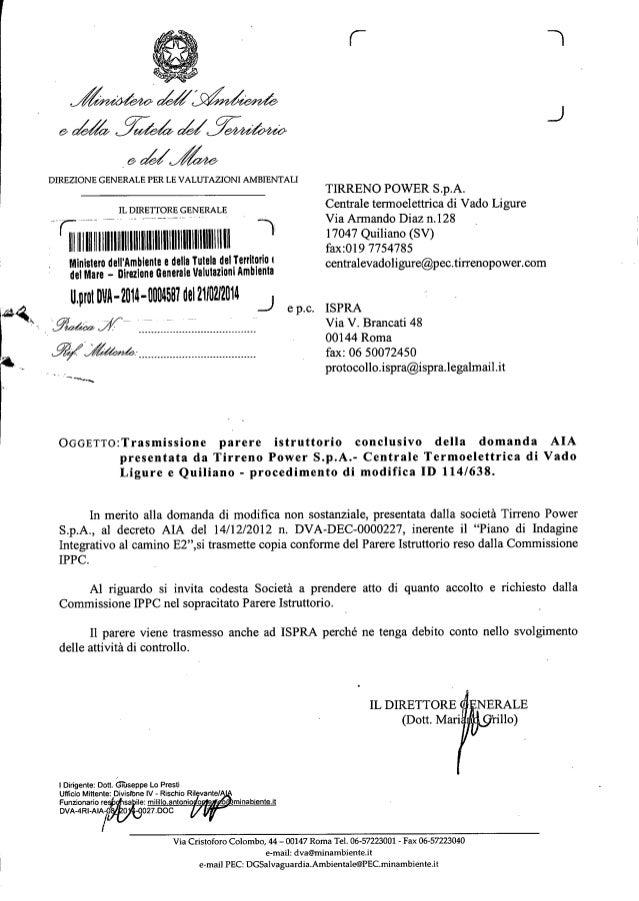 Tirreno power parere istruttorio aiagennaio 2014 dva 00 2014-0004587