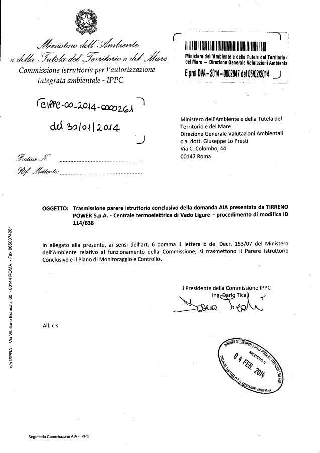 Tirreno power parere istruttoriop a.i.a. gennaio 20'14 dva 00 2014-0002847