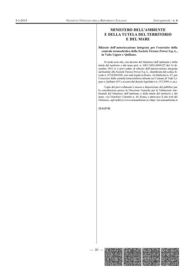 Tirreno power vado ligure gazzetta ufficiale 5 gennaio 2013 concessione a.i.a. (1)