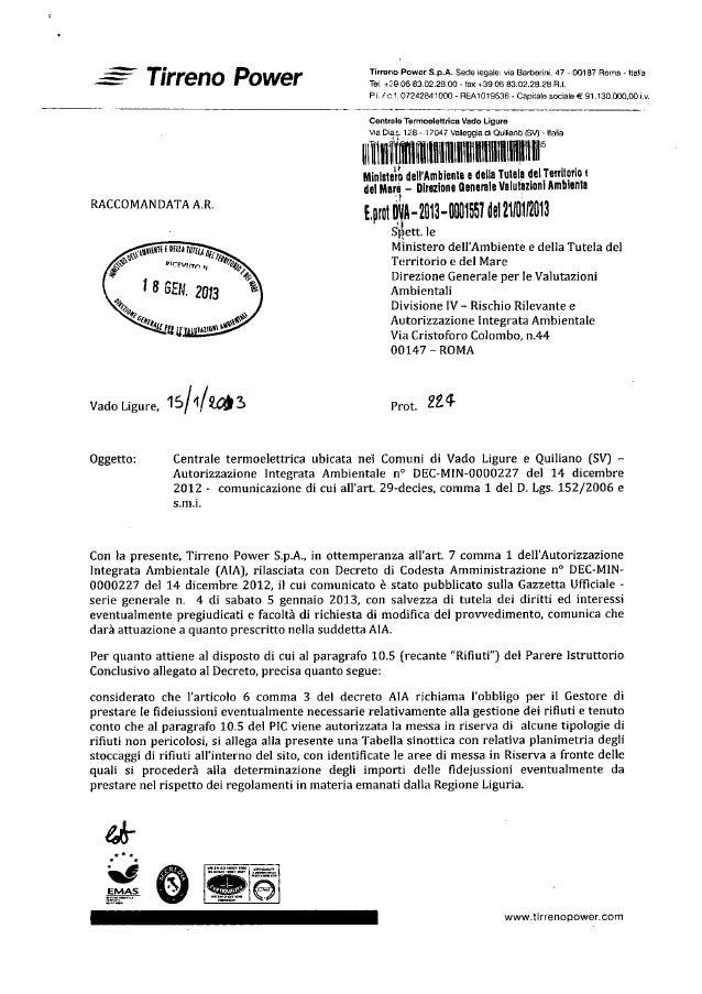 Tirreno power vado ligure gazzetta ufficiale 5 gennaio 2013 decreto ministeriale aia 14 12 2012 dec min 227 rifiuti