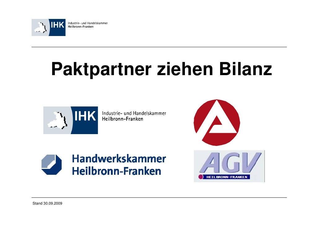 Paktpartner ziehen BilanzStand 30.09.2009