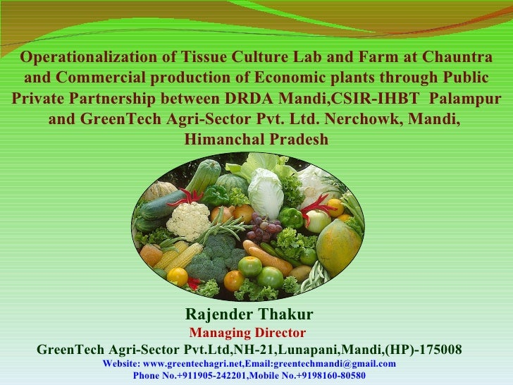 Operationalization of Tissue Culture Lab and Farm at Chauntra and Commercial production of Economic plants through PublicP...