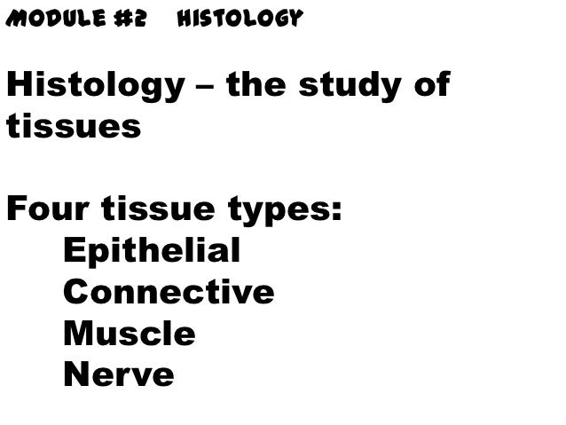Module #2   HistologyHistology – the study oftissuesFour tissue types:   Epithelial   Connective   Muscle   Nerve