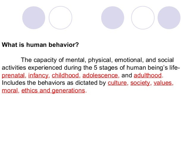 What is human behavior? The capacity of mental, physical, emotional, and social activities experienced during the 5 stages...