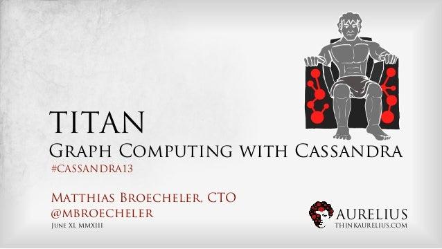 AURELIUSTHINKAURELIUS.COMTITANGraph Computing with CassandraMatthias Broecheler, CTO@mbroechelerJune XI, MMXIII#CASSANDRA13