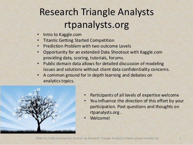 Research Triangle Analysts          rtpanalysts.org • Intro to Kaggle.com • Titantic Getting Started Competition • Predict...