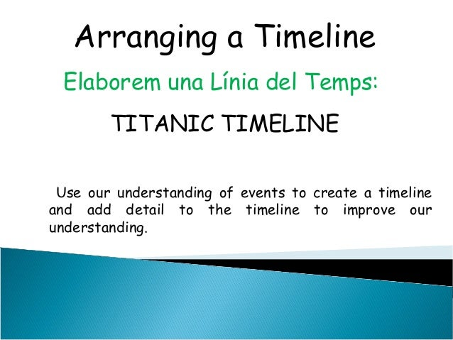 Arranging a TimelineElaborem una Línia del Temps:TITANIC TIMELINEUse our understanding of events to create a timelineand a...