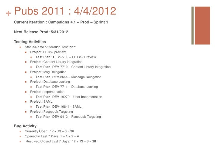 + Pubs 2011 : 4/4/2012 Current Iteration : Campaigns 4.1 – Prod – Sprint 1 Next Release Prod: 5/31/2012 Testing Activities...