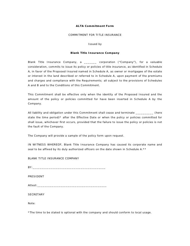 ALTA Commitment Form                                 COMMITMENT FOR TITLE INSURANCE                                       ...