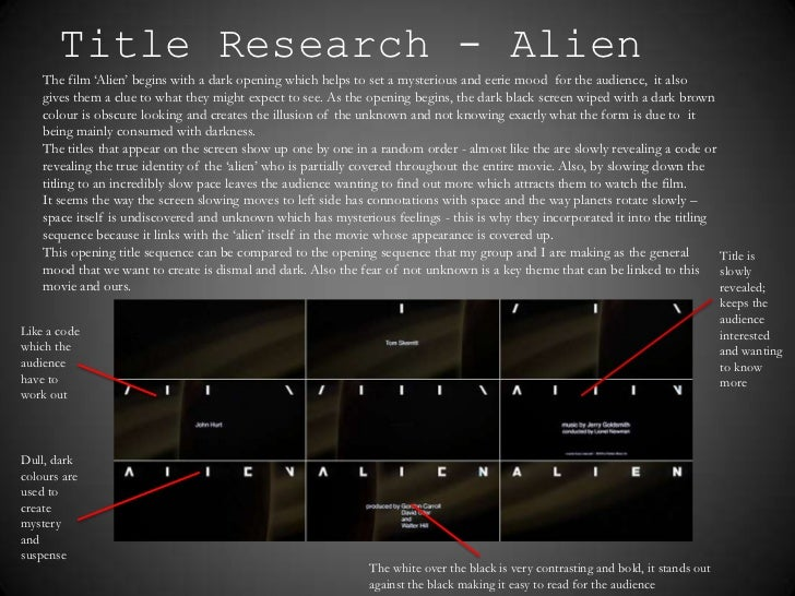 Title Research - Alien    The film 'Alien' begins with a dark opening which helps to set a mysterious and eerie mood for t...