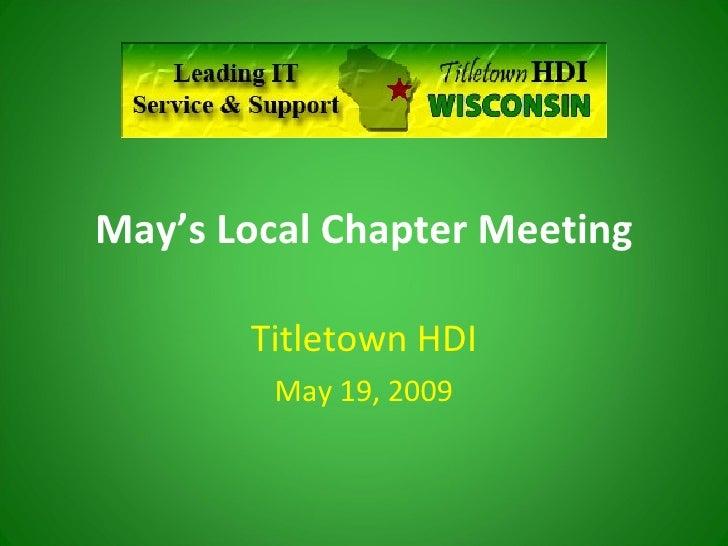 Titletown HDI  May 2009