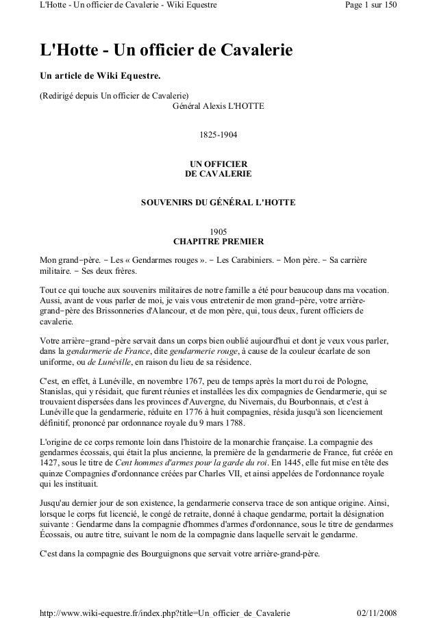 L'Hotte - Un officier de Cavalerie Un article de Wiki Equestre. (Redirigé depuis Un officier de Cavalerie) Général Alexis ...