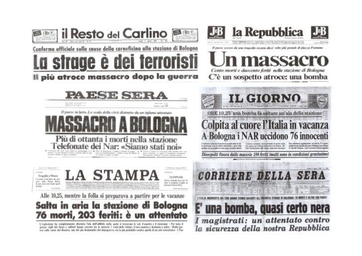 La strage di Bologna: i titoli dei giornali