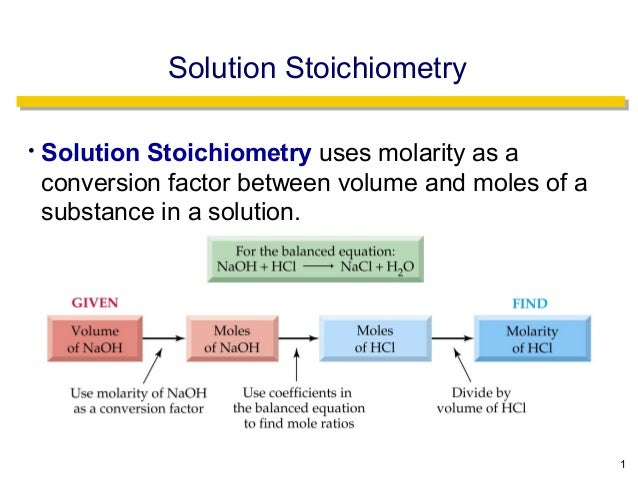 Solution Stoichiometry•   Solution Stoichiometry uses molarity as a    conversion factor between volume and moles of a    ...