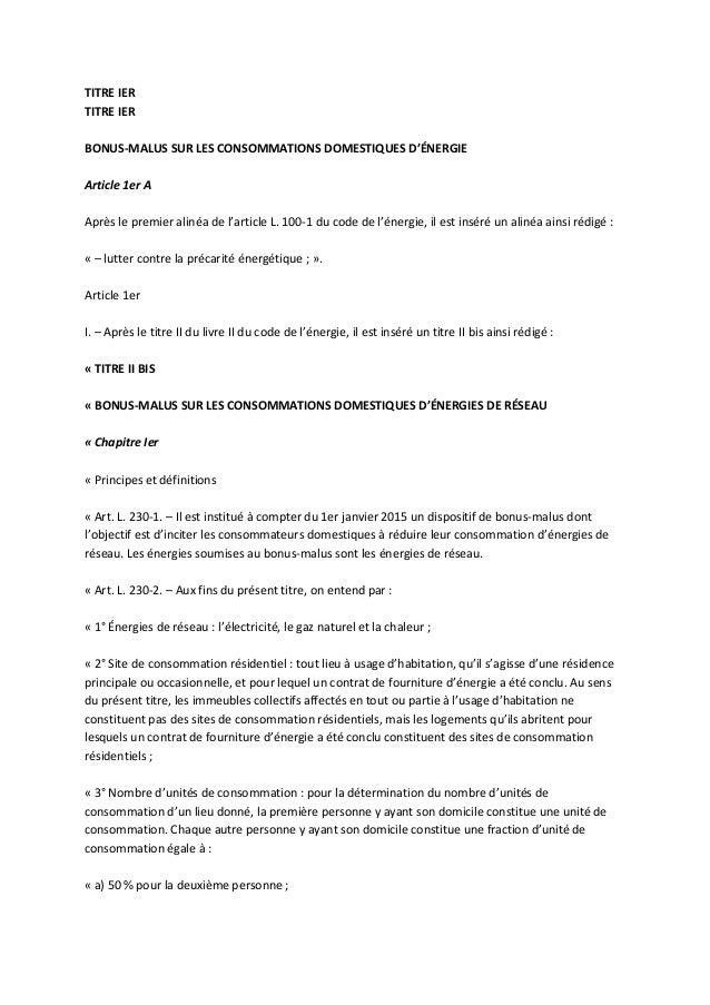 TITRE IERTITRE IERBONUS-MALUS SUR LES CONSOMMATIONS DOMESTIQUES D'ÉNERGIEArticle 1er AAprès le premier alinéa de l'article...