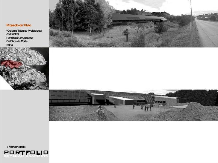 """<  Volver atrás """"Colegio Técnico Profesional en Castro"""" Pontificia Universidad Católica de Chile  2004 Proyecto ..."""