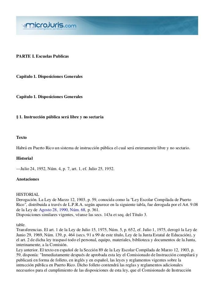 PARTE I. Escuelas PublicasCapítulo 1. Disposiciones GeneralesCapítulo 1. Disposiciones Generales§ 1. Instrucción pública s...