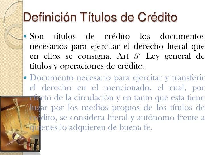 Titulo De Credito Definicion Juridica Lesnocreditos