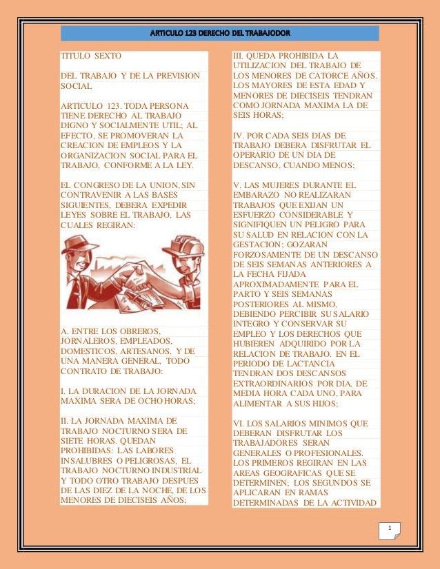 1 TITULO SEXTO DEL TRABAJO Y DE LA PREVISION SOCIAL ARTICULO 123. TODA PERSONA TIENE DERECHO AL TRABAJO DIGNO Y SOCIALMENT...