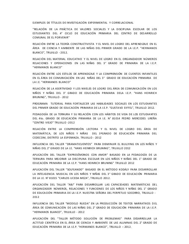 """EJEMPLOS DE TÍTULOS DE INVESTIGACIÓN EXPERIMENTAL Y CORRELACIONAL """"RELACIÓN DE LA PRÁCTICA DE VALORES SOCIALES Y LA DISCIP..."""