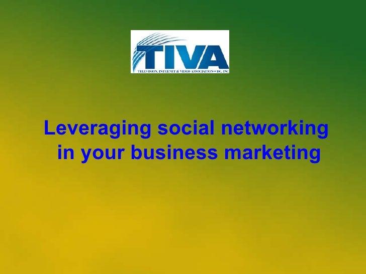 How I Use Soc Media for Marketing - TIVA panel