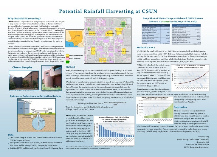 California;  Potential Rainfall Harvesting at California State University, Northridge