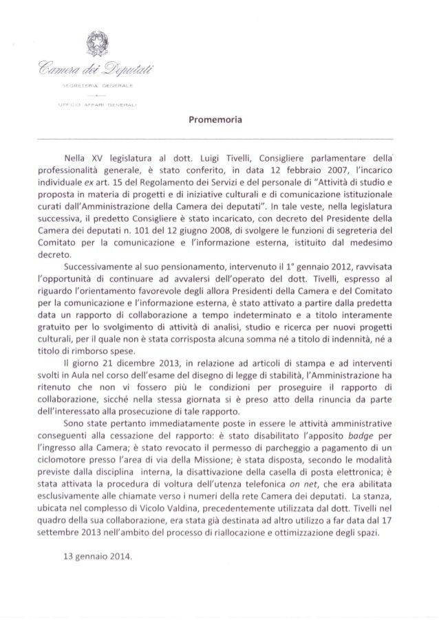 """La Camera rinnova il contratto al """"lobbista"""" Luigi Tivelli"""