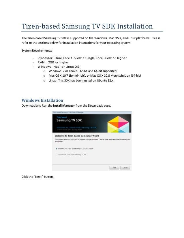 Tizen-based Samsung TV SDK Installation Guide