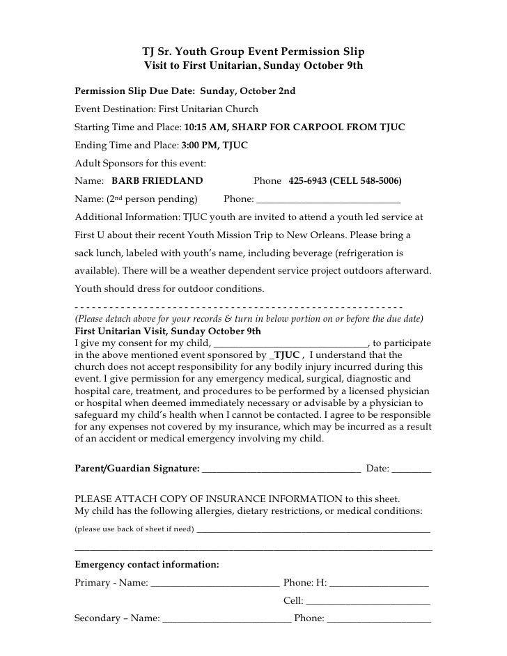 TJ Sr. Youth Group Event Permission Slip                   Visit to First Unitarian, Sunday October 9thPermission Slip Due...