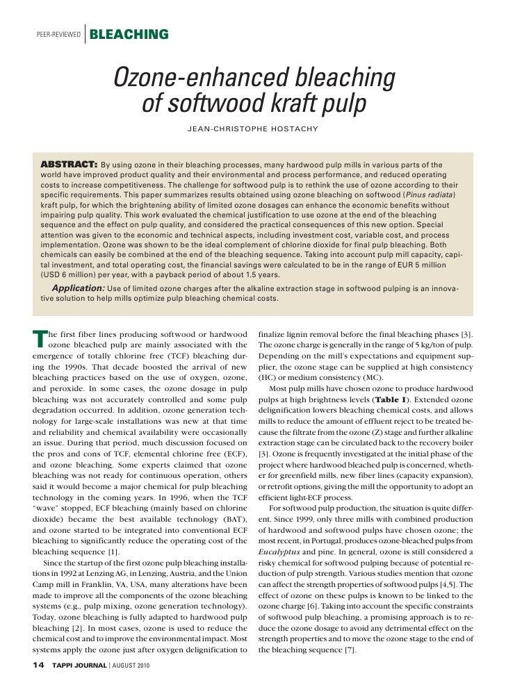 PEER-REVIEWED   BLEACHING                          Ozone-enhanced bleaching                          of softwood kraft pul...