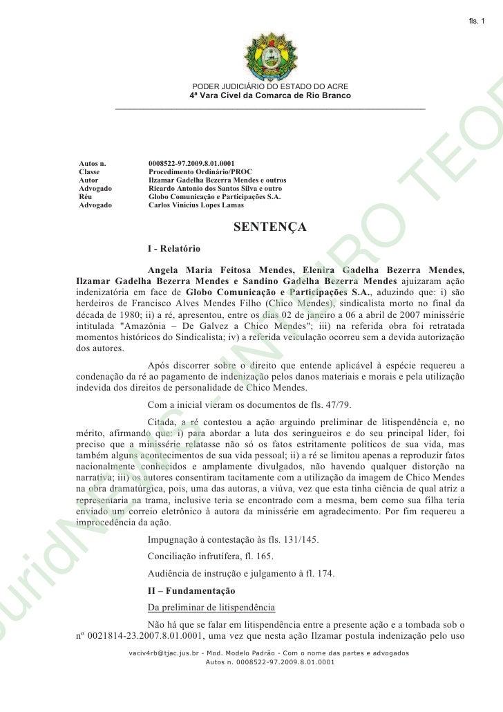 Sentença Judicial - Herdeiros de Chico Mendes x Globo